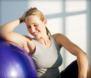 Fitball and woman